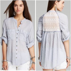 Free People Put Your Back Into It Top in Chambray